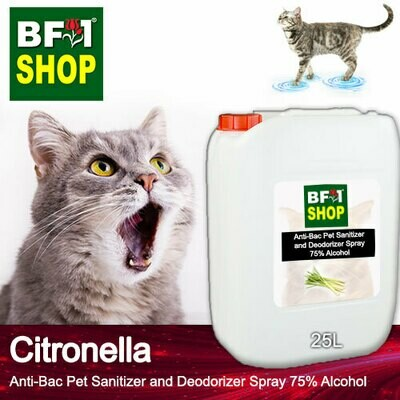 Anti-Bac Pet Sanitizer and Deodorizer Spray (ABPSD-Cat) - 75% Alcohol with Citronella - 25L for Cat and Kitten