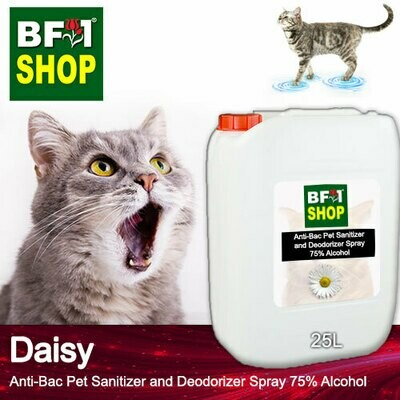 Anti-Bac Pet Sanitizer and Deodorizer Spray (ABPSD-Cat) - 75% Alcohol with Daisy - 25L for Cat and Kitten
