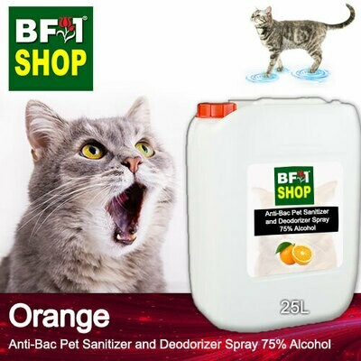 Anti-Bac Pet Sanitizer and Deodorizer Spray (ABPSD-Cat) - 75% Alcohol with Orange - 25L for Cat and Kitten