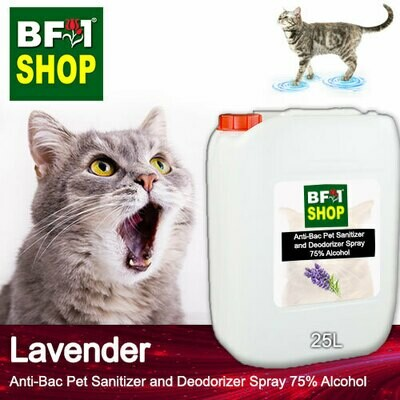 Anti-Bac Pet Sanitizer and Deodorizer Spray (ABPSD-Cat) - 75% Alcohol with Lavender - 25L for Cat and Kitten