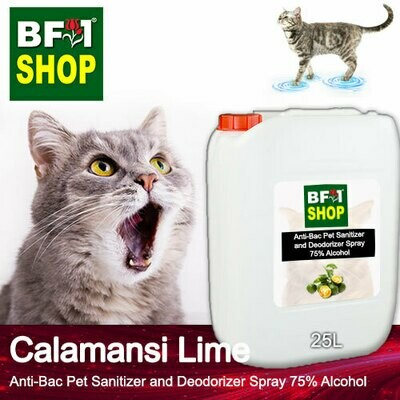 Anti-Bac Pet Sanitizer and Deodorizer Spray (ABPSD-Cat) - 75% Alcohol with lime - Calamansi Lime - 25L for Cat and Kitten