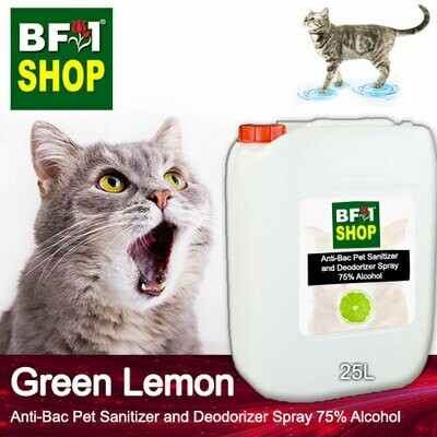 Anti-Bac Pet Sanitizer and Deodorizer Spray (ABPSD-Cat) - 75% Alcohol with Lemon - Green Lemon - 25L for Cat and Kitten