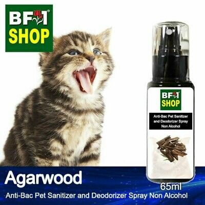 Anti-Bac Pet Sanitizer and Deodorizer Spray (ABPSD-Cat) - Non Alcohol with Agarwood - 65ml for Cat and Kitten
