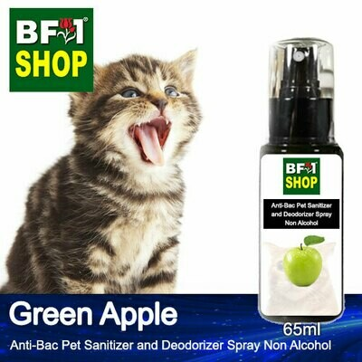 Anti-Bac Pet Sanitizer and Deodorizer Spray (ABPSD-Cat) - Non Alcohol with Apple - Green Apple - 65ml for Cat and Kitten