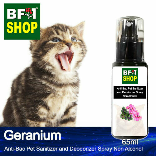Anti-Bac Pet Sanitizer and Deodorizer Spray (ABPSD-Cat) - Non Alcohol with Geranium - 65ml for Cat and Kitten