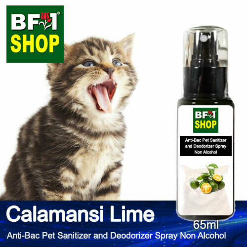 Anti-Bac Pet Sanitizer and Deodorizer Spray (ABPSD-Cat) - Non Alcohol with lime - Calamansi Lime - 65ml for Cat and Kitten