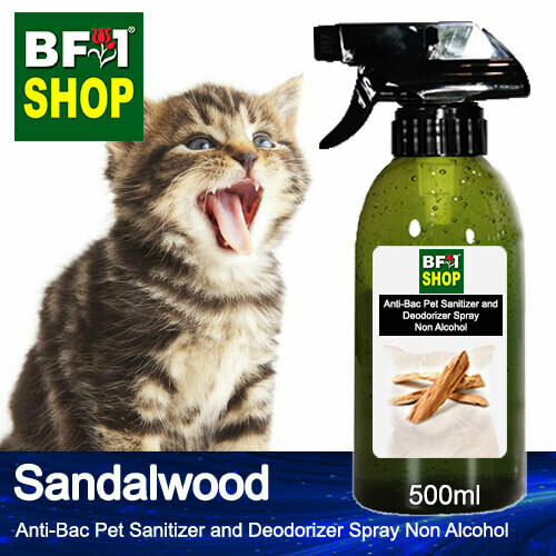 Anti-Bac Pet Sanitizer and Deodorizer Spray (ABPSD-Cat) - Non Alcohol with Sandalwood - 500ml for Cat and Kitten