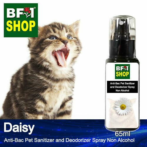 Anti-Bac Pet Sanitizer and Deodorizer Spray (ABPSD-Cat) - Non Alcohol with Daisy - 65ml for Cat and Kitten