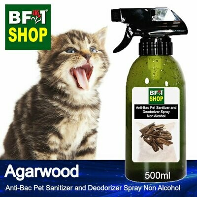 Anti-Bac Pet Sanitizer and Deodorizer Spray (ABPSD-Cat) - Non Alcohol with Agarwood - 500ml for Cat and Kitten