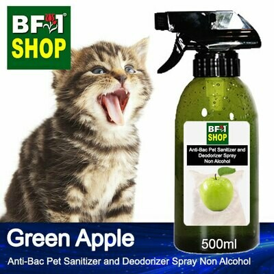 Anti-Bac Pet Sanitizer and Deodorizer Spray (ABPSD-Cat) - Non Alcohol with Apple - Green Apple - 500ml for Cat and Kitten