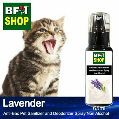 Anti-Bac Pet Sanitizer and Deodorizer Spray (ABPSD-Cat) - Non Alcohol with Lavender - 65ml for Cat and Kitten