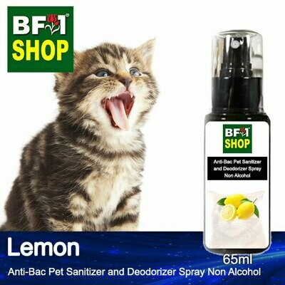 Anti-Bac Pet Sanitizer and Deodorizer Spray (ABPSD-Cat) - Non Alcohol with Lemon - 65ml for Cat and Kitten