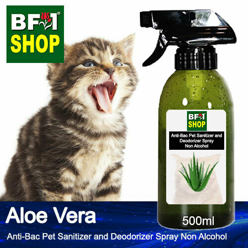 Anti-Bac Pet Sanitizer and Deodorizer Spray (ABPSD-Cat) - Non Alcohol with Aloe Vera - 500ml for Cat and Kitten