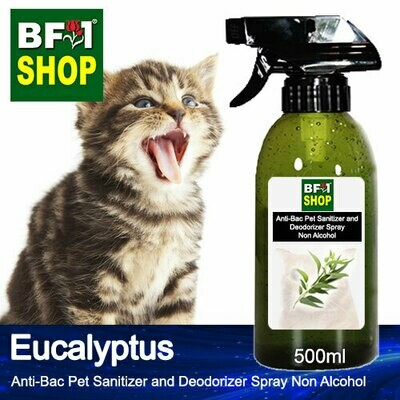 Anti-Bac Pet Sanitizer and Deodorizer Spray (ABPSD-Cat) - Non Alcohol with Eucalyptus - 500ml for Cat and Kitten