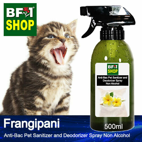 Anti-Bac Pet Sanitizer and Deodorizer Spray (ABPSD-Cat) - Non Alcohol with Frangipani - 500ml for Cat and Kitten