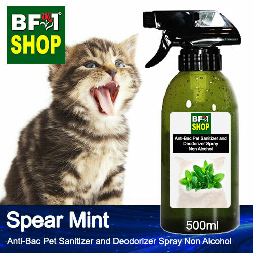 Anti-Bac Pet Sanitizer and Deodorizer Spray (ABPSD-Cat) - Non Alcohol with mint - Spear Mint - 500ml for Cat and Kitten
