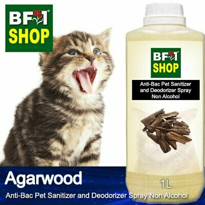 Anti-Bac Pet Sanitizer and Deodorizer Spray (ABPSD-Cat) - Non Alcohol with Agarwood - 1L for Cat and Kitten