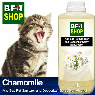 Anti-Bac Pet Sanitizer and Deodorizer Spray (ABPSD-Cat) - Non Alcohol with Chamomile - 1L for Cat and Kitten