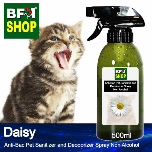 Anti-Bac Pet Sanitizer and Deodorizer Spray (ABPSD-Cat) - Non Alcohol with Daisy - 500ml for Cat and Kitten