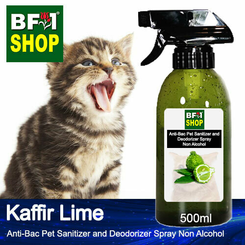 Anti-Bac Pet Sanitizer and Deodorizer Spray (ABPSD-Cat) - Non Alcohol with lime - Kaffir Lime - 500ml for Cat and Kitten