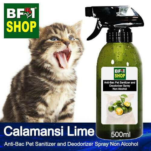 Anti-Bac Pet Sanitizer and Deodorizer Spray (ABPSD-Cat) - Non Alcohol with lime - Calamansi Lime - 500ml for Cat and Kitten