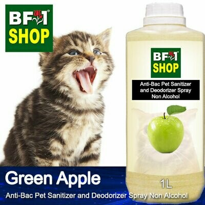 Anti-Bac Pet Sanitizer and Deodorizer Spray (ABPSD-Cat) - Non Alcohol with Apple - Green Apple - 1L for Cat and Kitten