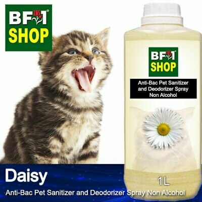Anti-Bac Pet Sanitizer and Deodorizer Spray (ABPSD-Cat) - Non Alcohol with Daisy - 1L for Cat and Kitten