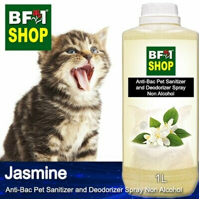 Anti-Bac Pet Sanitizer and Deodorizer Spray (ABPSD-Cat) - Non Alcohol with Jasmine - 1L for Cat and Kitten