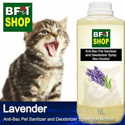 Anti-Bac Pet Sanitizer and Deodorizer Spray (ABPSD-Cat) - Non Alcohol with Lavender - 1L for Cat and Kitten