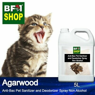 Anti-Bac Pet Sanitizer and Deodorizer Spray (ABPSD-Cat) - Non Alcohol with Agarwood - 5L for Cat and Kitten