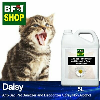 Anti-Bac Pet Sanitizer and Deodorizer Spray (ABPSD-Cat) - Non Alcohol with Daisy - 5L for Cat and Kitten