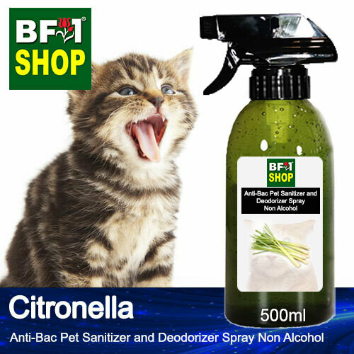 Anti-Bac Pet Sanitizer and Deodorizer Spray (ABPSD-Cat) - Non Alcohol with Citronella - 500ml for Cat and Kitten