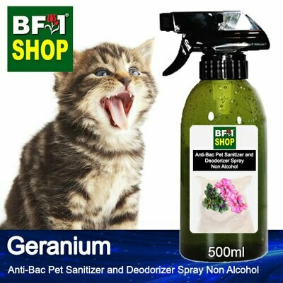 Anti-Bac Pet Sanitizer and Deodorizer Spray (ABPSD-Cat) - Non Alcohol with Geranium - 500ml for Cat and Kitten