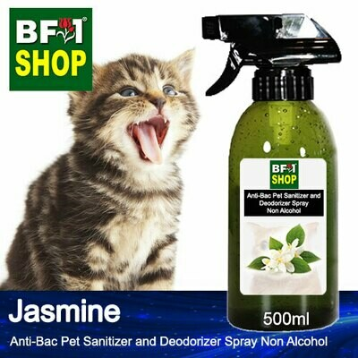 Anti-Bac Pet Sanitizer and Deodorizer Spray (ABPSD-Cat) - Non Alcohol with Jasmine - 500ml for Cat and Kitten