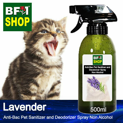 Anti-Bac Pet Sanitizer and Deodorizer Spray (ABPSD-Cat) - Non Alcohol with Lavender - 500ml for Cat and Kitten