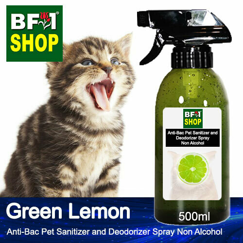 Anti-Bac Pet Sanitizer and Deodorizer Spray (ABPSD-Cat) - Non Alcohol with Lemon - Green Lemon - 500ml for Cat and Kitten