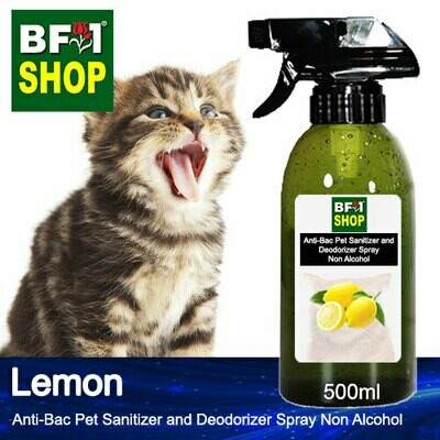 Anti-Bac Pet Sanitizer and Deodorizer Spray (ABPSD-Cat) - Non Alcohol with Lemon - 500ml for Cat and Kitten