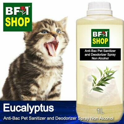 Anti-Bac Pet Sanitizer and Deodorizer Spray (ABPSD-Cat) - Non Alcohol with Eucalyptus - 1L for Cat and Kitten