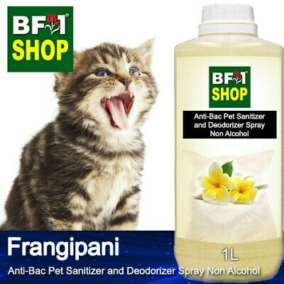 Anti-Bac Pet Sanitizer and Deodorizer Spray (ABPSD-Cat) - Non Alcohol with Frangipani - 1L for Cat and Kitten
