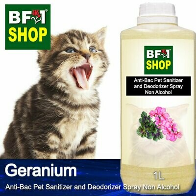 Anti-Bac Pet Sanitizer and Deodorizer Spray (ABPSD-Cat) - Non Alcohol with Geranium - 1L for Cat and Kitten