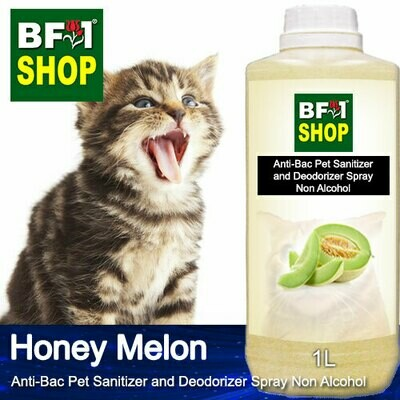 Anti-Bac Pet Sanitizer and Deodorizer Spray (ABPSD-Cat) - Non Alcohol with Honey Melon - 1L for Cat and Kitten