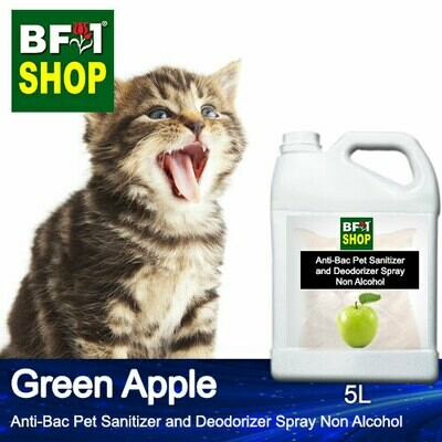 Anti-Bac Pet Sanitizer and Deodorizer Spray (ABPSD-Cat) - Non Alcohol with Apple - Green Apple - 5L for Cat and Kitten
