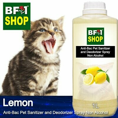 Anti-Bac Pet Sanitizer and Deodorizer Spray (ABPSD-Cat) - Non Alcohol with Lemon - 1L for Cat and Kitten