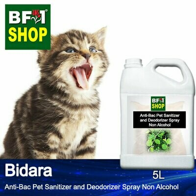 Anti-Bac Pet Sanitizer and Deodorizer Spray (ABPSD-Cat) - Non Alcohol with Bidara - 5L for Cat and Kitten