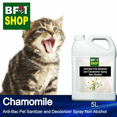 Anti-Bac Pet Sanitizer and Deodorizer Spray (ABPSD-Cat) - Non Alcohol with Chamomile - 5L for Cat and Kitten