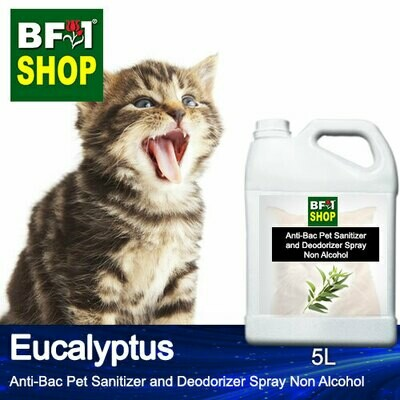 Anti-Bac Pet Sanitizer and Deodorizer Spray (ABPSD-Cat) - Non Alcohol with Eucalyptus - 5L for Cat and Kitten