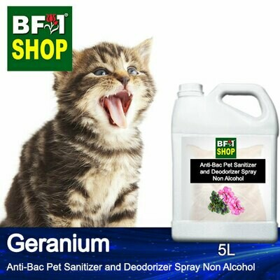Anti-Bac Pet Sanitizer and Deodorizer Spray (ABPSD-Cat) - Non Alcohol with Geranium - 5L for Cat and Kitten