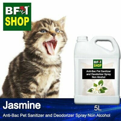 Anti-Bac Pet Sanitizer and Deodorizer Spray (ABPSD-Cat) - Non Alcohol with Jasmine - 5L for Cat and Kitten