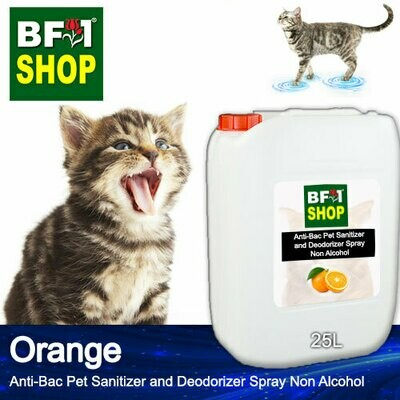 Anti-Bac Pet Sanitizer and Deodorizer Spray (ABPSD-Cat) - Non Alcohol with Orange - 25L for Cat and Kitten