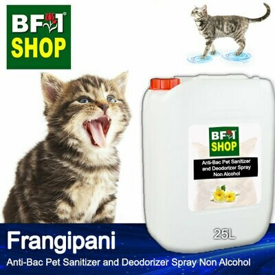 Anti-Bac Pet Sanitizer and Deodorizer Spray (ABPSD-Cat) - Non Alcohol with Frangipani - 25L for Cat and Kitten